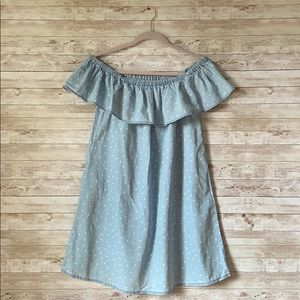 Love Fire Chambray & Stars Off Shoulder Dress